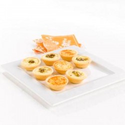 Mini Canape Quiche with Ham, Mozzarella & Pesto